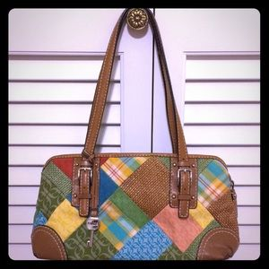 Gorgeous Fossil patchwork purse